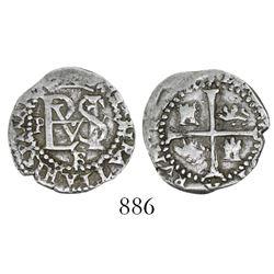 Potosi, Bolivia, cob 1/2 real, Philip II, assayer B below monogram (2nd period).