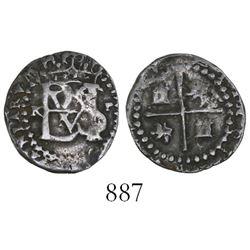 Potosi, Bolivia, cob 1/2 real, Philip II, assayer R to left (Ramos), mintmark P to right.