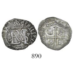 Potosi, Bolivia, cob 1/2 real, Philip II, assayer B to left (5th period), mintmark P to right, borde