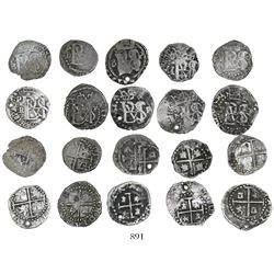 Study collection of 10 Potosi, Bolivia, cob 1/2 reales, Philip II and III, various assayers (all vis