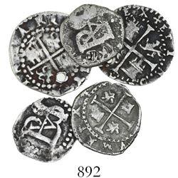 Lot of 5 Potosi, Bolivia, cob 1/2 reales, Philip II through IV, assayers R (Rincon), B (different pe