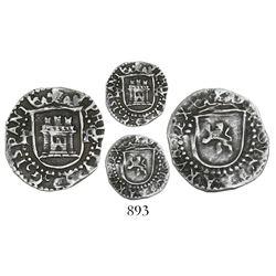 Potosi, Bolivia, cob 1/4 real, Philip II, assayer R to right (Rincon), mintmark P to left.
