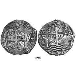 Potosi, Bolivia, cob 8 reales, 1657E, assayer to left of cross (rare), PH at top on pillars side, de