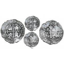 Potosi, Bolivia, cob 8 reales, 1658E, denomination 8 above cross, Royal-like.
