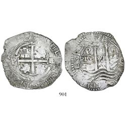 Potosi, Bolivia, cob 8 reales, 1661E, ex-Karon.