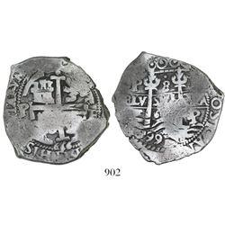 Potosi, Bolivia, cob 8 reales, 1666E.