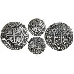 Potosi, Bolivia, cob 8 reales Royal, 1692VR.