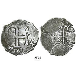 Potosí, Bolivia, cob 8 reales, 1723Y, rare (missing in Karon).