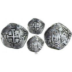 Potosi, Bolivia, cob 8 reales, 1733YA, very rare.