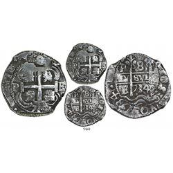 Potosi, Bolivia, cob 8 reales, 1734E, full 4-digit date in legend (rare thus).