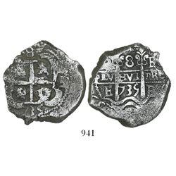 Potosi, Bolivia, cob 8 reales, 1735E.