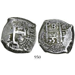 Potosi, Bolivia, cob 8 reales, 1753C/q, rare.