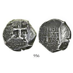 Potosi, Bolivia, cob 8 reales, 1766(V)-Y.