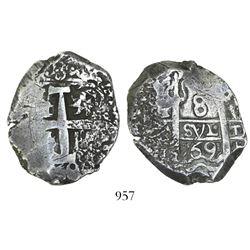 Potosi, Bolivia, cob 8 reales, 1769V-(Y).