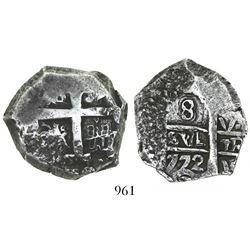 Potosi, Bolivia, cob 8 reales, 1772V-Y, second assayer at bottom right.