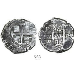 Potosi, Bolivia, cob 4 reales, 1686VR.