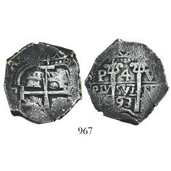 Potosi, Bolivia, cob 4 reales, 1693VR.