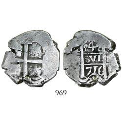 Potosi, Bolivia, cob 4 reales, 1716(Y).