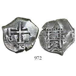 Potosi, Bolivia, cob 4 reales, 1723(Y), rare (missing in Sellschopp).