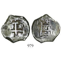 Potosi, Bolivia, cob 4 reales, 1744q/C, very rare.