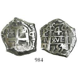 Potosi, Bolivia, cob 4 reales, 1757q.