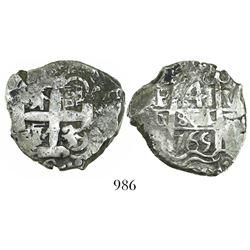 Potosi, Bolivia, cob 4 reales, 1765V-(Y).