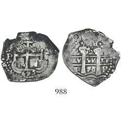 Potosi, Bolivia, cob 2 reales, 1653E, dot-PH-dot at top.