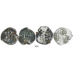 Lot of 2 Potosi, Bolivia, cob 2 reales: 1660E and 1674E.
