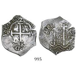 Potosi, Bolivia, cob 2 reales, 1688VR.