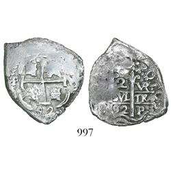 Potosi, Bolivia, cob 2 reales, 1692VR.