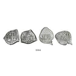 Lot of 2 Potosi, Bolivia, cob 2 reales, 1713Y and 1754q.