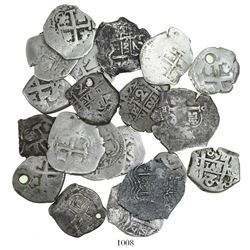 Large lot of 20 Potosi, Bolivia, cob 2R, various kings and dates: 1666E, 1667E (2), 1669E, 1680V, 16