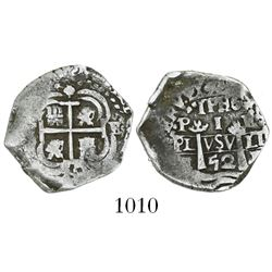 Potosi, Bolivia, cob 1 real, 1652E, post-transitional (McLean Type VII).
