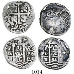 "Lot of 2 Potosi, Bolivia, cob 1 real ""pseudo-Royals"" (round), 1656E and 1690VR."