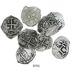 Lot of 8 Potosi, Bolivia, cob 1R, various dates: 1660E, 1664E, 1670E, 1687VR, 169(?)F, 1699F, 1704Y