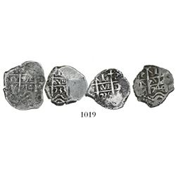 Lot of 4 Potosi, Bolivia, cob 1R, Philip V, dates and assayers as follows: 1714Y, 1733(M or YA), 173