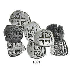Lot of 4 Potosi, Bolivia, cob 1R, Ferdinand VI, dates and assayers as follows: 1748q, 1757q and 1759