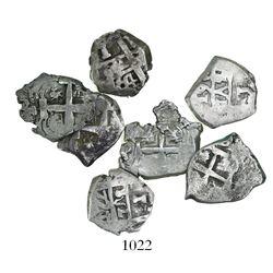 Lot of 7 Potosi, Bolivia, cob 1R, Charles III, assayers V-Y (where visible), dates as follows: 1761,