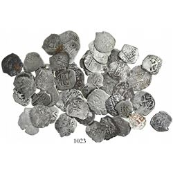 Large lot of 50 Potosi, Bolivia, cob 1R, Philip IV through Charles III, various dates and assayers (