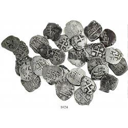Large lot of 30 Potosi, Bolivia, cob 1 reales, various kings and dates (all visible).