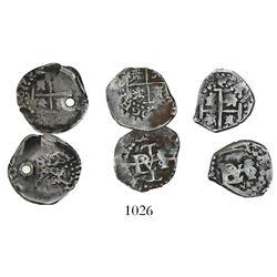Lot of 3 Potosi, Bolivia, cob 1/2 reales, Philip IV, no assayers, rare types of 1652 and 1656 (the l