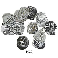 Lot of 12 Potosi, Bolivia, cob 1/2 reales, various kings and dates (all visible).