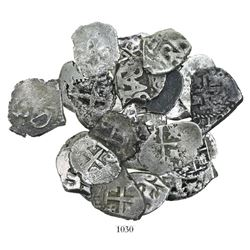 Large lot of 20 Potosi, Bolivia, cob 1/2R, Philip IV through Charles III, various dates and assayers