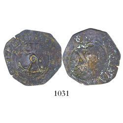 Santo Domingo, Dominican Republic, copper 4 maravedis, Charles-Joanna, assayer F, with anchor counte