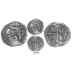 Panama, cob 1/2 real, Philip II, assayer P to right, assayer M below, mintmark AP to left of monogra