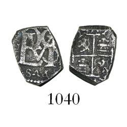 Bogota, Colombia, cob 1/2 real, Philip IV, dated (16)(?)2, assayer not visible, quadrants of cross t