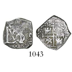 Bogota, Colombia, cob 1/2 real, Charles II, no assayer, dot below monogram, rare.