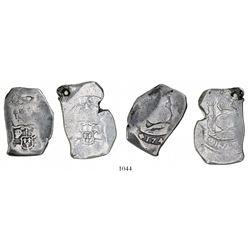 Lot of 2 Guatemala cob 8 reales: 174(?) and 1752(?), assayer J (not visible).