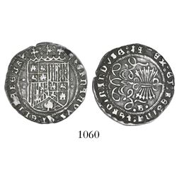Burgos, Spain, 1 real, Ferdinand-Isabel, mintmark circlet-B-circlet on reverse, circlet-circlet on e