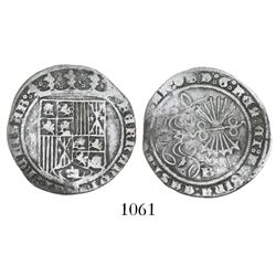 Burgos, Spain, 1 real, Ferdinand-Isabel, mintmark B on reverse, legend ending in scallop and Jerusal